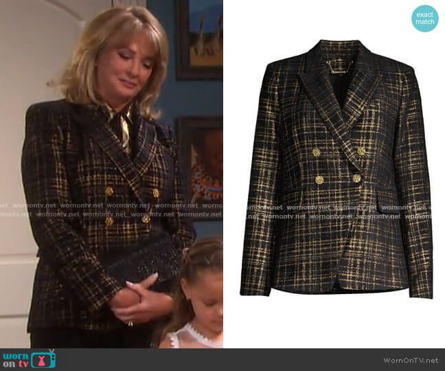 Jezebel Metallic Tweed Double-Breasted Blazer by Elie Tahari worn by Marlena Evans (Deidre Hall) on Days of our Lives