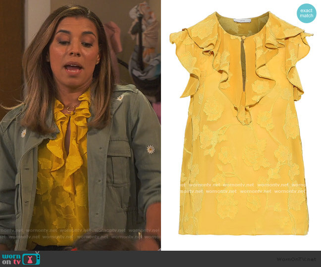 Eddison ruffled fil coupé georgette blouse by Joie worn by Jo (Christina Vidal Mitchell) on United We Fall