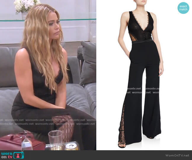 Lingerie Lace Jumpsuit by Jonathan Simkhai worn by Denise Richards  on The Real Housewives of Beverly Hills