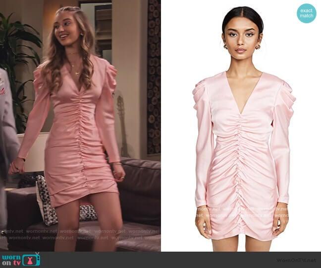 Crepe Back Satin Puff Sleeve Dress by Jonathan Simkhai worn by Brooke Bishop (Bella Podaras) on The Expanding Universe of Ashley Garcia
