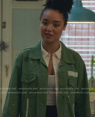 Kat's green paint-splutter jacket on The Bold Type