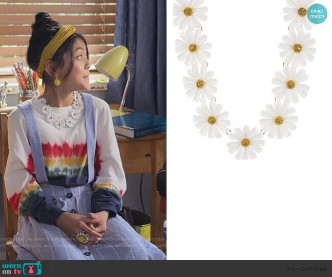 Daisy Chain Statement Necklace by Kate Spade worn by Claudia Kishi (Momona Tamada) on The Baby-Sitters Club