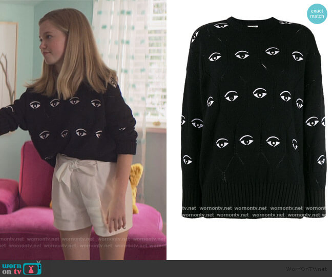 Eye embroidered jumper by Kenzo worn by Stacey McGill (Shay Rudolph) on The Baby-Sitters Club