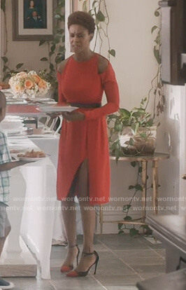 Karissa's red cold shoulder dress on Greenleaf