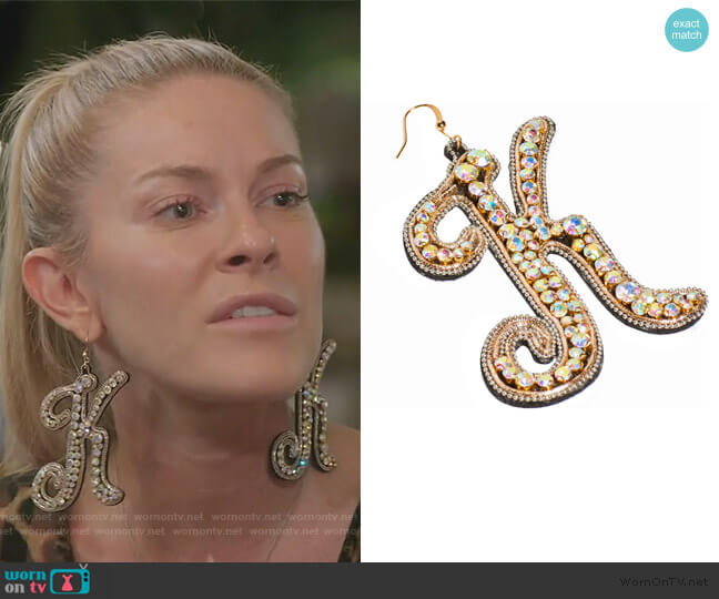 Bejewled Earrings by Kim Shui worn by Leah McSweeney  on The Real Housewives of New York City