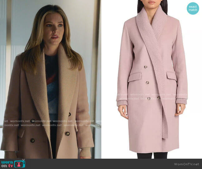 Knit Shawl Collar Double-Breasted Coat by Badgley Mischka worn by Sutton (Meghann Fahy) on The Bold Type