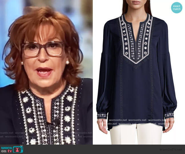Sandi Embroidered Puff-Sleeve Silk Blouse by Kobi Halperin worn by Joy Behar  on The View