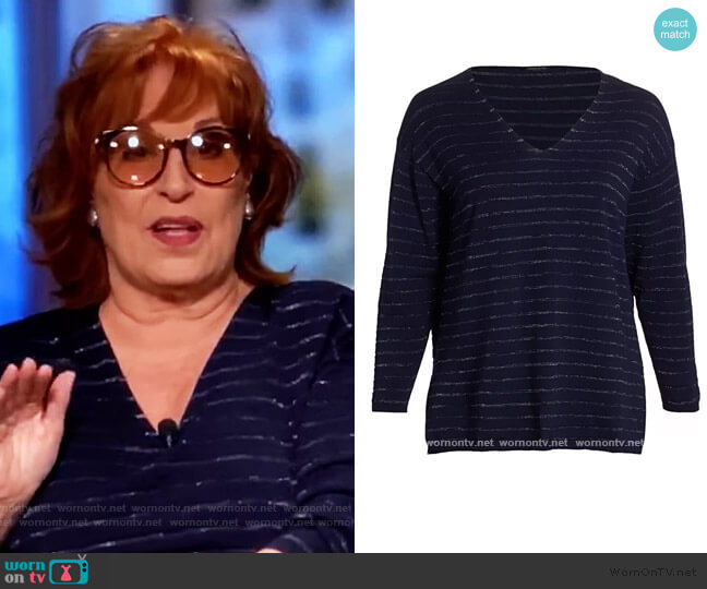 Stripe V-Neck Pullover by Lafayette 148 worn by Joy Behar  on The View