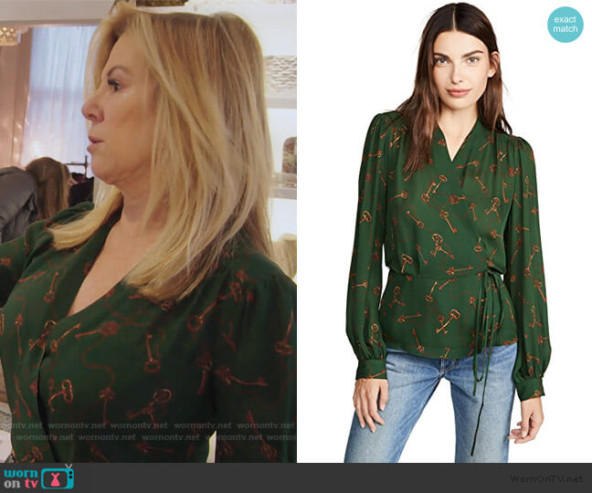 Cara Wrap Blouse by L'Agence worn by Ramona Singer  on The Real Housewives of New York City