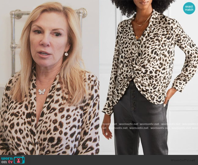 Mariposa Twist Front Silk Blouse by L'Agence worn by Ramona Singer  on The Real Housewives of New York City