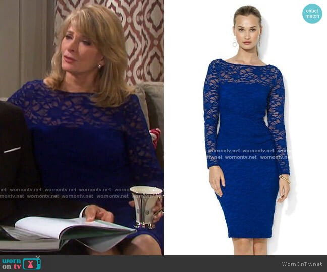 Long-Sleeve Lace Dress by Lauren Ralph Lauren worn by Marlena Evans (Deidre Hall) on Days of our Lives