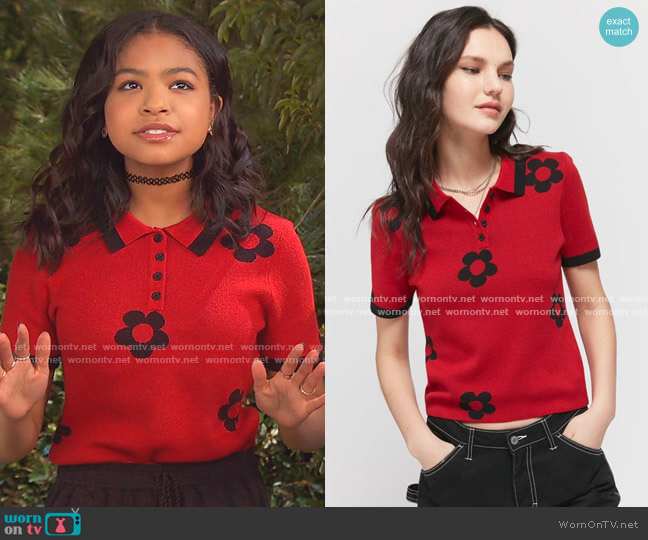 70s Flower Polo Top by Lazy Oaf worn by Navia Robinson on Bunkd