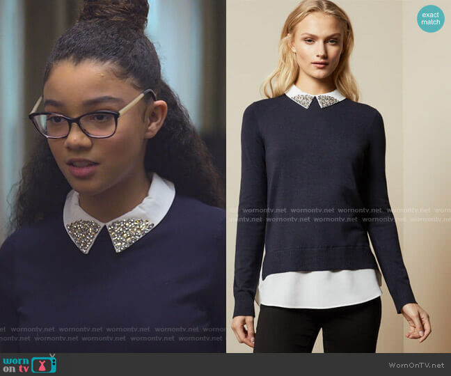 Liaylo Sweater by Ted Baker worn by Mary-Anne Spier (Malia Baker) on The Baby-Sitters Club