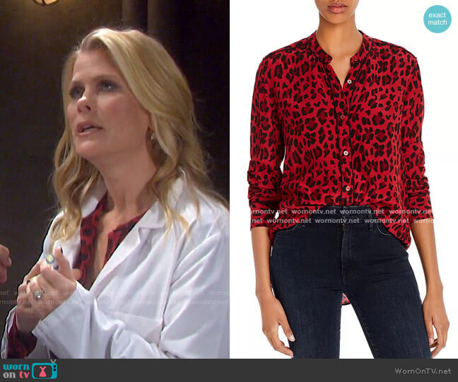 Lillian Piped Leopard Print Shirt by Rails worn by Sami Brady (Alison Sweeney) on Days of our Lives
