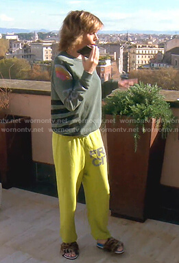 Lisa's green print sweatshirt and yellow pants on The Real Housewives of Beverly Hills