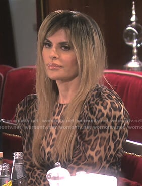 Lisa's leopard puff sleeve dress on The Real Housewives of Beverly Hills