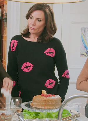 Luann's black lip print sweater on The Real Housewives of New York City
