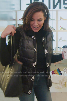Luann's black embellished puffer vest on The Real Housewives of New York City