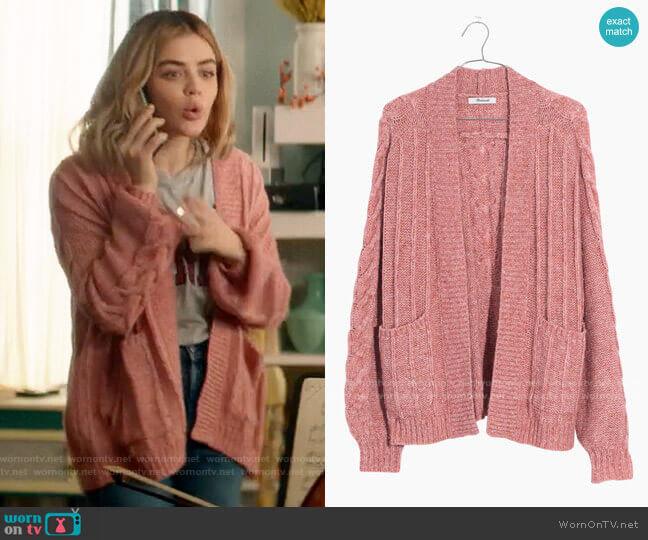 Madewell Bubble Sleeve Cable Knit Cardigan worn by Lucy Neal (Lucy Hale) on A Nice Girl Like You