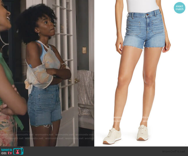 High Rise Patch Pocket Denim Shorts by Madewell worn by Zora Greenleaf (Lovie Simone) on Greenleaf
