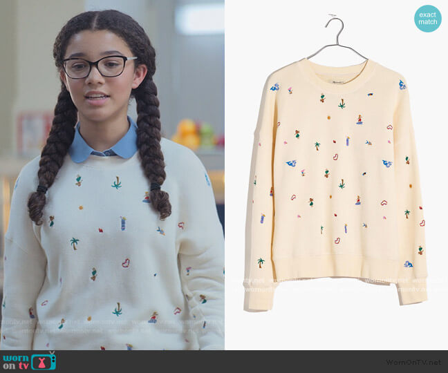 Lei-cation Embroidered Mainstay Sweatshirt by Madewell worn by Mary-Anne Spier (Malia Baker) on The Baby-Sitters Club