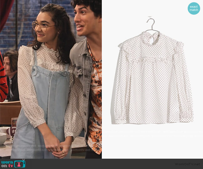 Mockneck Ruffle Top in Flocked Dot by Madewell worn by Ashley Garcia (Paulina Chávez) on The Expanding Universe of Ashley Garcia