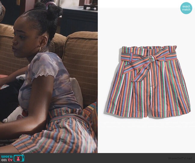 Paperbag Shorts in Rainbow Stripe by Madwell worn by Zora Greenleaf (Lovie Simone) on Greenleaf