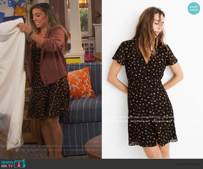 Silk Button-Front Swing Dress in Feline Floral by Madewell worn by Jo (Christina Vidal Mitchell) on United We Fall