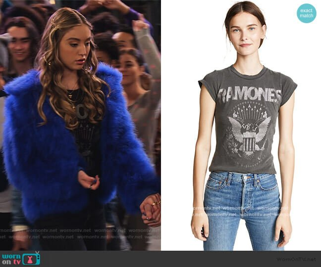 Ramones Baby Tee by Madeworn Rock worn by Brooke Bishop (Bella Podaras) on The Expanding Universe of Ashley Garcia