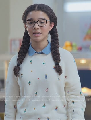 Mary-Anne's white embroidered sweater on The Baby-Sitters Club