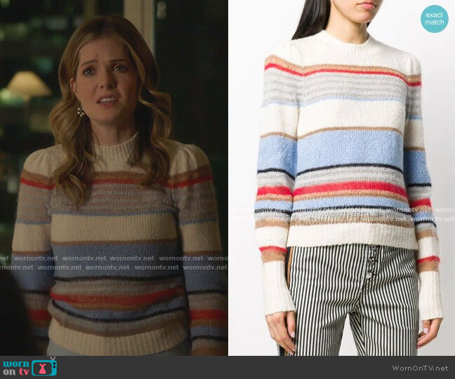 Meredith Striped Knitted Sweater by Veronica Beard worn by Sutton (Meghann Fahy) on The Bold Type