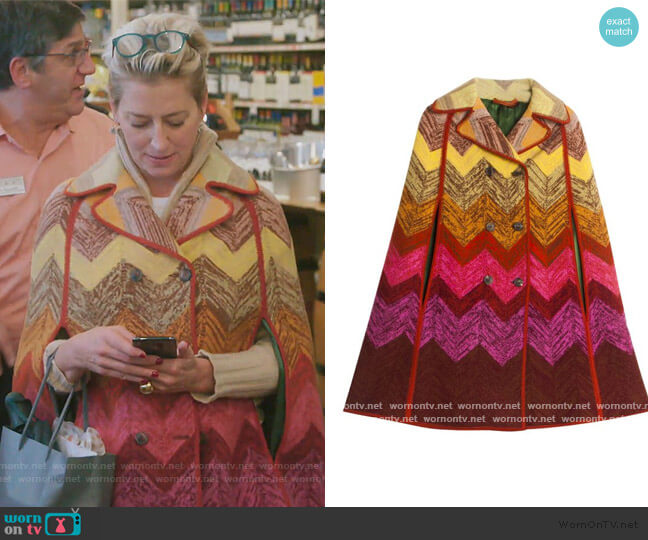 Cape Coat by Missoni worn by Dorinda Medley  on The Real Housewives of New York City