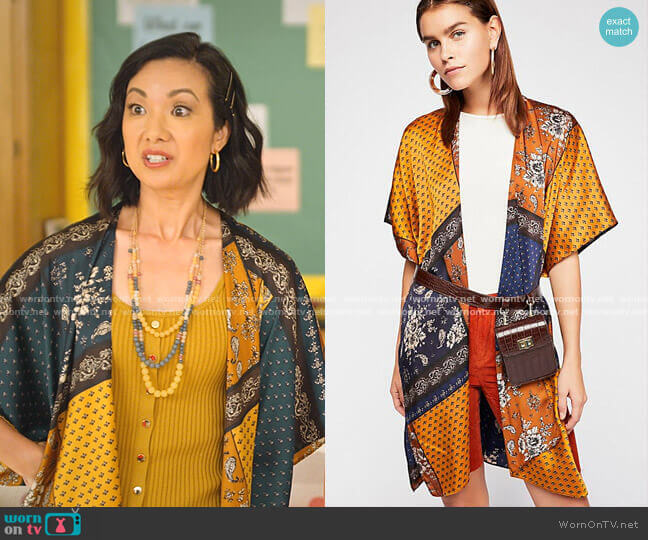 Mon Cheri Silky Patchwork Kimono by Free People worn by Jae W. Suh on Never Have I Ever