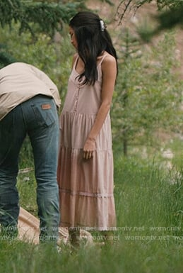 Monica's pink linen midi dress on Yellowstone