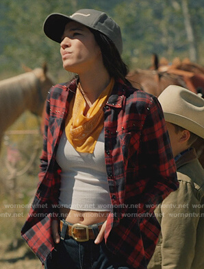 Monica's red studded plaid shirt on Yellowstone
