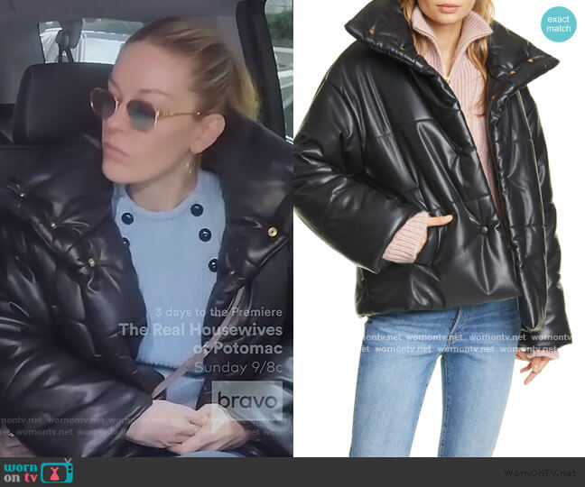 Hide Vegan Leather Puffer Jacket by Nanushka worn by Leah McSweeney  on The Real Housewives of New York City