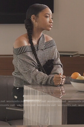 Zora's gray off shoulder sweater on Greenleaf
