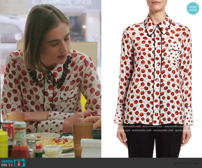 Printed Long-Sleeve Blouse with Embellished Collar by No. 21 worn by Hannah Lynch on The Real Housewives of New York