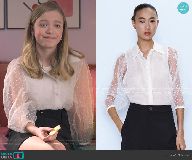 Organza Blouse with Full Sleeves by Zara worn by Stacey McGill (Shay Rudolph) on The Baby-Sitters Club