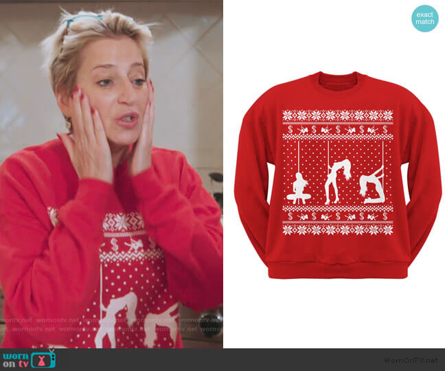 Stripper Silhoutte christmas Sweater by Old Glory worn by Dorinda Medley  on The Real Housewives of New York City