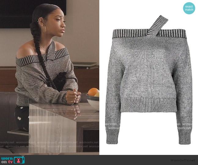 Beckett sequinned sweater by Rta worn by Zora Greenleaf (Lovie Simone) on Greenleaf