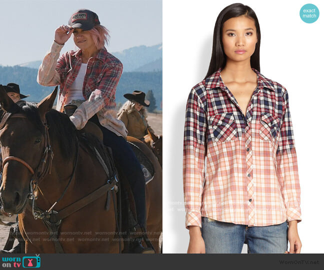 Gia Bleach Dipped Plaid Flannel Shirt by Rails worn by Jennifer Landon on Yellowstone