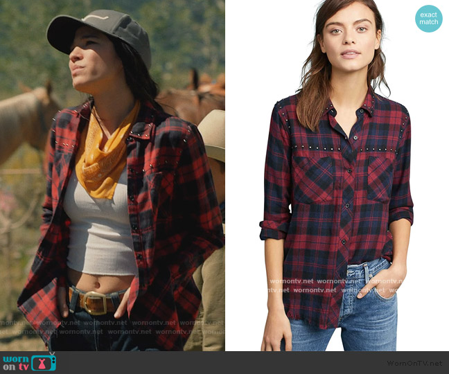 Rex Plaid Button-Front Studded Shirt by Rails worn by Monica Dutton (Kelsey Asbille) on Yellowstone