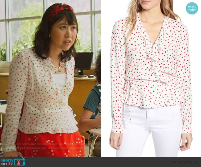 Simone Print Ruffle Wrap Blouse by Rails worn by Eleanor Wong (Ramona Young) on Never Have I Ever