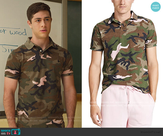 Short Sleeve Mesh Camo Polo Shirt by Ralph Lauren worn by Jaren Lewison on Never Have I Ever