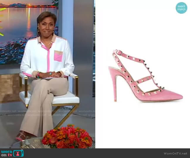 Rockstud pumps by Valentino worn by Robin Roberts  on Good Morning America