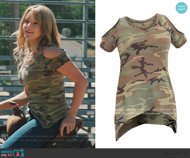 Camo Cold Shoulder Top by Rothco worn by Laramie (Hassie-Harrison) on Yellowstone