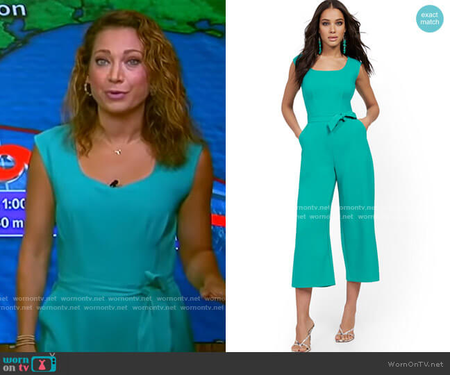 Square-Neck Belted Jumpsuit by New York & Company worn by Ginger Zee  on Good Morning America