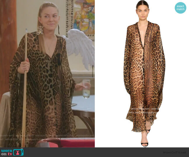 Leopard Georgette Caftan Dress by Saint Laurent worn by Leah McSweeney  on The Real Housewives of New York City