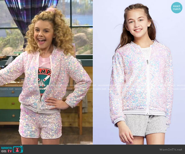 Sequin Bomber Jacket by More Than Magic at Target worn by Destiny Baker (Mallory James Mahoney) on Bunkd
